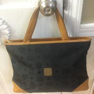 Large MCM Black Jacquard Tote Handbag